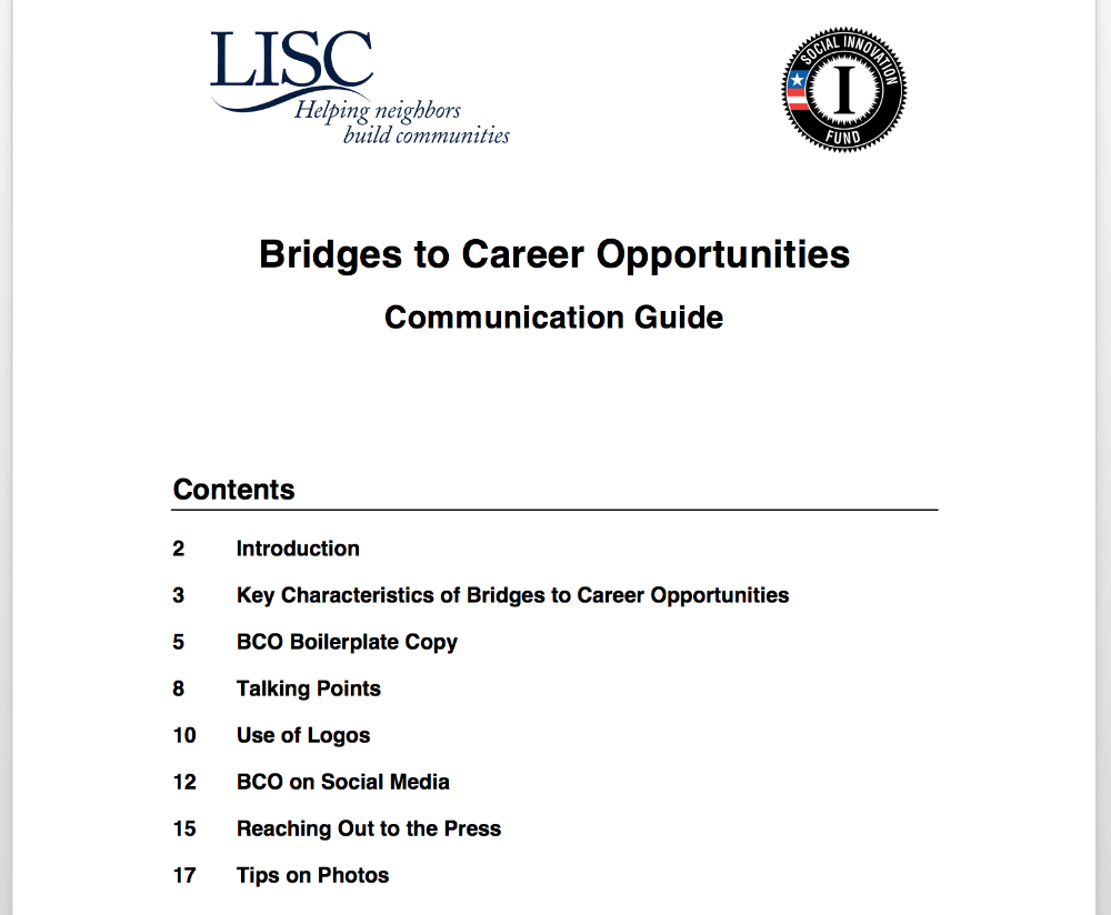 LISC Financial Stability Resources - Bridges to Career